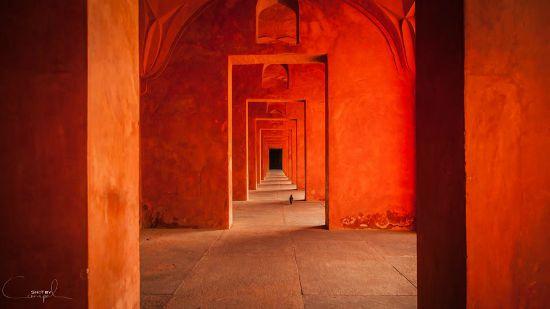 Binnen in de Taj Mahal, India