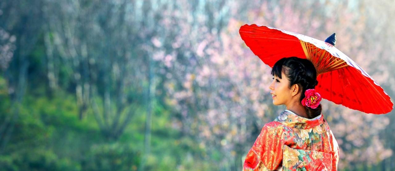 Meisje in kimono, Japan