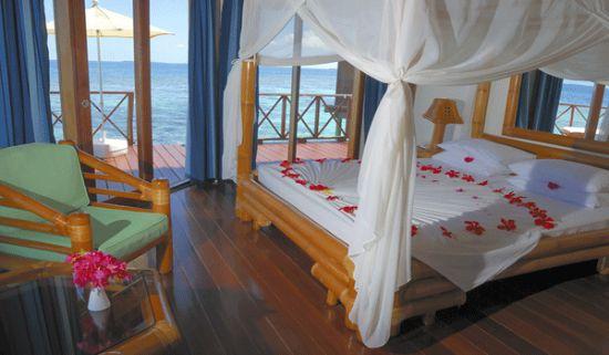 Slapen op het water op de Malediven